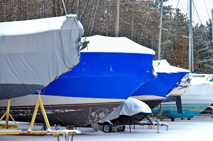 båt i opplag for vinteren